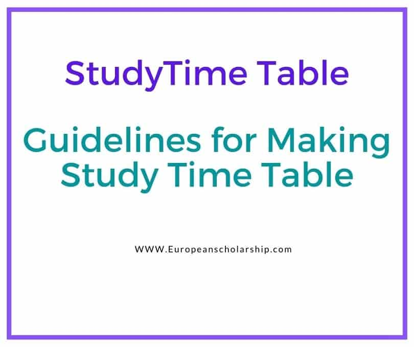Study Time Table- Guidelines for Making Study Time Table